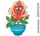 Stock vector red rose flower house plant in a pot happy cartoon design for kids coloring book colouring page 1099575194