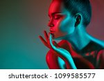 high fashion model woman in... | Shutterstock . vector #1099585577
