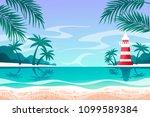 summer seascape. lighthouse.... | Shutterstock .eps vector #1099589384