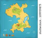 treasure island and pirate map  ... | Shutterstock .eps vector #109959875