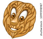 walnut. wrinkled edible seed.... | Shutterstock .eps vector #1099598987