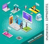 isometric social network.... | Shutterstock .eps vector #1099605551