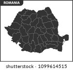 the detailed map of the romania ... | Shutterstock .eps vector #1099614515