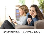 friends using multiple devices... | Shutterstock . vector #1099621277