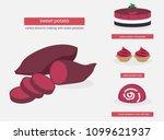purple sweet potato tubers ...   Shutterstock .eps vector #1099621937