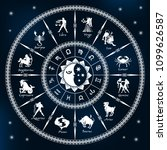 horoscope circle on a dark blue ... | Shutterstock .eps vector #1099626587