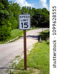 Small photo of 15 miles an hour speed limit sign