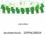 Stock vector brazil flags garland with confetti on white background hang bunting for brazil celebration 1099628834