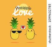 pineapple cartoon characters ... | Shutterstock .eps vector #1099632785