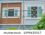 bamboo scaffolding on a house...   Shutterstock . vector #1099635317
