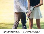 coaches are teaching golfers to ... | Shutterstock . vector #1099640564
