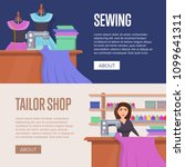tailor shop horizontal flyers.... | Shutterstock .eps vector #1099641311