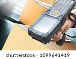 blue tooth barcode scanner with ... | Shutterstock . vector #1099641419