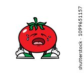 cartoon crying tomato character | Shutterstock .eps vector #1099651157