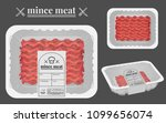 mince meat packaging on the... | Shutterstock .eps vector #1099656074
