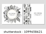 vector set with trendy cards.... | Shutterstock .eps vector #1099658621