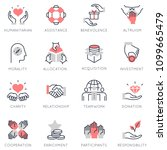 vector set of flat linear icons ... | Shutterstock .eps vector #1099665479