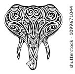 elephant head ornamented as a... | Shutterstock .eps vector #1099671044