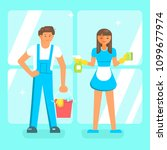 cleaning service staff... | Shutterstock .eps vector #1099677974