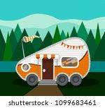 orange camper van for tourism... | Shutterstock .eps vector #1099683461