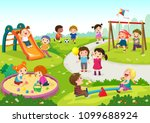 vector illustration of happy... | Shutterstock .eps vector #1099688924