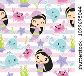 seamless pattern of cute... | Shutterstock .eps vector #1099695044