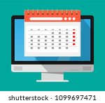 paper spiral wall calendar in... | Shutterstock .eps vector #1099697471
