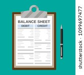 clipboard with balance sheet... | Shutterstock .eps vector #1099697477