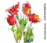 vector drawing flowers of red...   Shutterstock .eps vector #1099698854