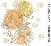 japanese floral pattern. gold... | Shutterstock .eps vector #1099700435