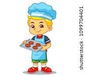 boy baking chocolate cookies. | Shutterstock .eps vector #1099704401