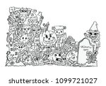 halloween party. hand drawing... | Shutterstock .eps vector #1099721027