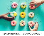 aerial view of hands picking... | Shutterstock . vector #1099729937