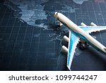 passenger plane on the world... | Shutterstock . vector #1099744247