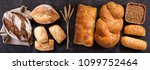 various types of fresh bread... | Shutterstock . vector #1099752464