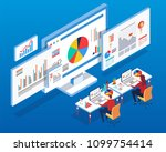 isometric data monitoring and... | Shutterstock .eps vector #1099754414
