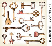 hand drawn set of different... | Shutterstock .eps vector #1099758344