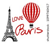 set red balloon and paris... | Shutterstock .eps vector #1099760417