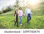 senior couple with grandaughter ... | Shutterstock . vector #1099760474