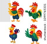 cartoon rooster collection set | Shutterstock .eps vector #1099765331