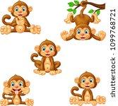 cartoon monkey collection set   Shutterstock .eps vector #1099768721
