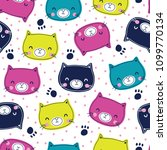 seamless colorful cat pattern... | Shutterstock .eps vector #1099770134