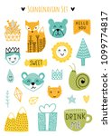 scandinavian doodles elements.... | Shutterstock .eps vector #1099774817