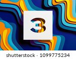 white paper cut number 3 on the ... | Shutterstock . vector #1099775234