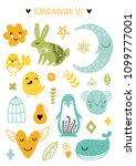 scandinavian doodles elements.... | Shutterstock .eps vector #1099777001