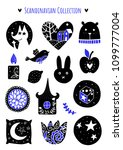 scandinavian doodles elements.... | Shutterstock .eps vector #1099777004
