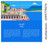 amalfi. seaside town in italy.... | Shutterstock .eps vector #1099779074