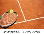 close up of tennis racket and...   Shutterstock . vector #1099780901
