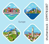 icons views of european cities... | Shutterstock .eps vector #1099781087
