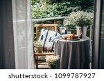 breakfast served on a beautiful ... | Shutterstock . vector #1099787927